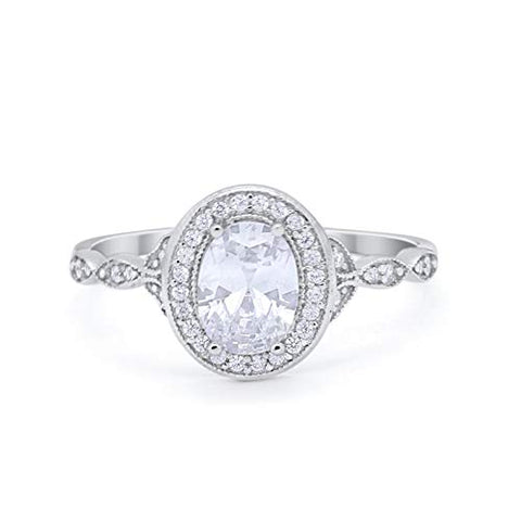 Vintage Style Oval Wedding Bridal Ring Simulated Cubic Zirconia 925 Sterling Silver