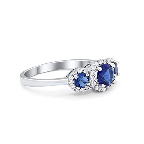 Three Stone Simulated Blue Sapphire CZ Wedding Ring 925 Sterling Silver