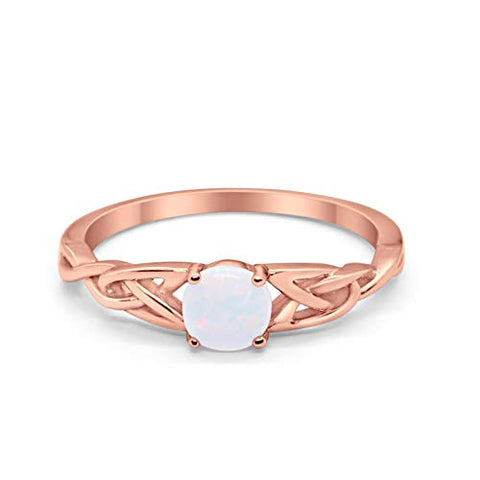 Celtic Trinity Solid Rose Tone, Lab White Opal 925 Sterling Silver Wedding Ring
