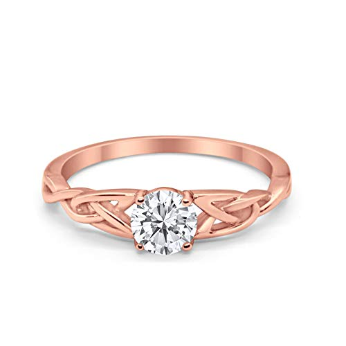 Celtic Trinity Engagement Ring Rose Tone, Simulated CZ Solid 925 Sterling Silver