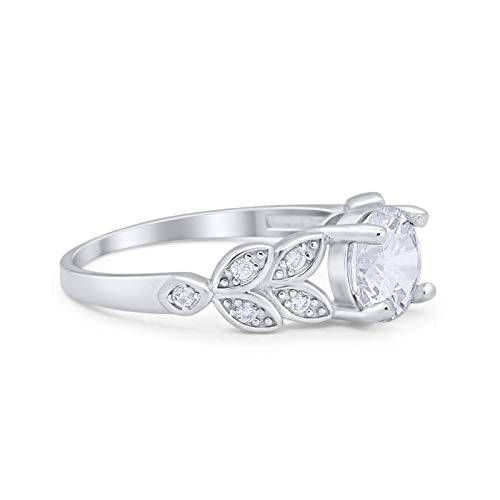 Art Deco Flower Wedding Ring Simulated Cubic Zirconia 925 Sterling Silver