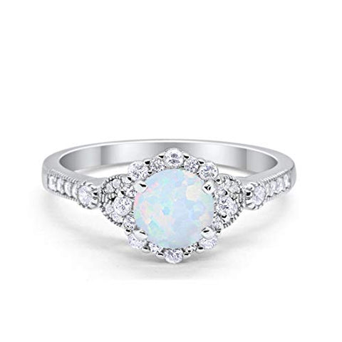 Floral Art Deco Engagement Ring Lab White Opal 925 Sterling Silver