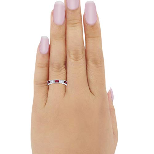 Alternating Baguette Ring Simulated Ruby CZ 925 Sterling Silver