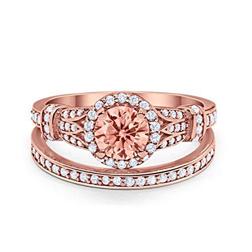 Two Piece Wedding Promise Ring Rose Tone, Simulated Morganite CZ 925 Sterling Silver