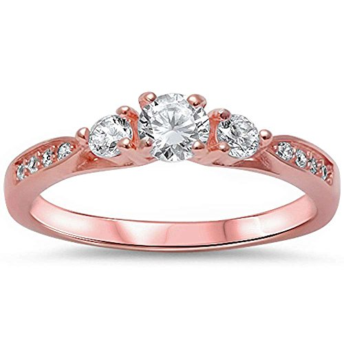 3-Stone Engagement Promise Ring Rose Tone, Simulated CZ 925 Sterling Silver