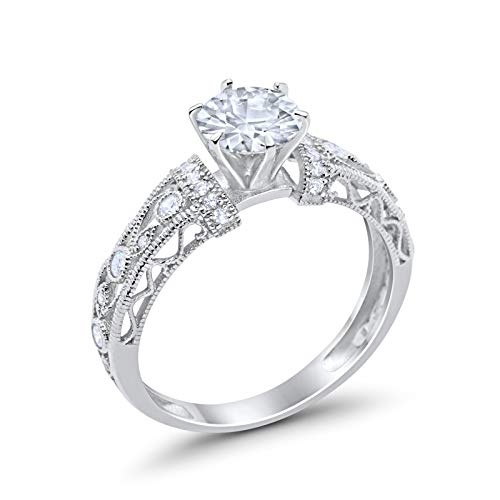 Art Deco Engagement Promise Ring Simulated Cubic Zirconia 925 Sterling Silver