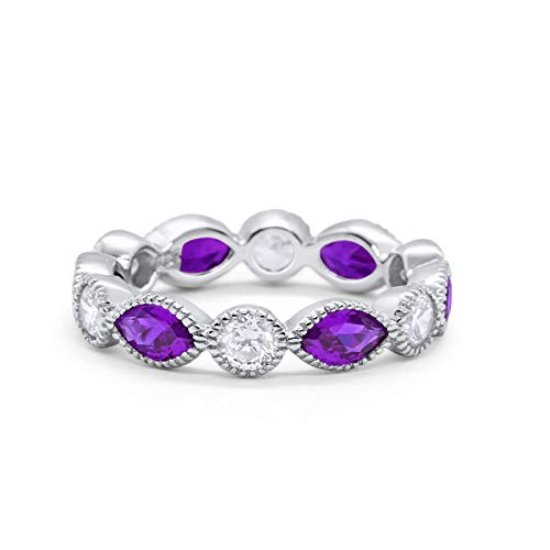 Eternity Style Marquise Ring Simulated Amethyst CZ 925 Sterling Silver