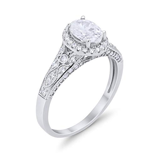 Vintage Style Oval Wedding Ring Simulated Cubic Zirconia 925 Sterling Silver