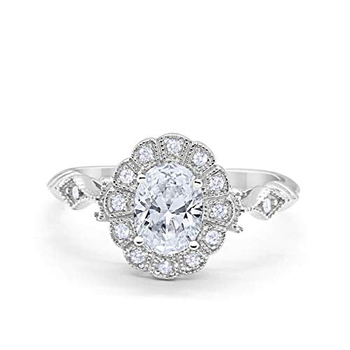 Oval Art Deco Enagement Bridal Ring Simulated Cubic Zirconia 925 Sterling Silver