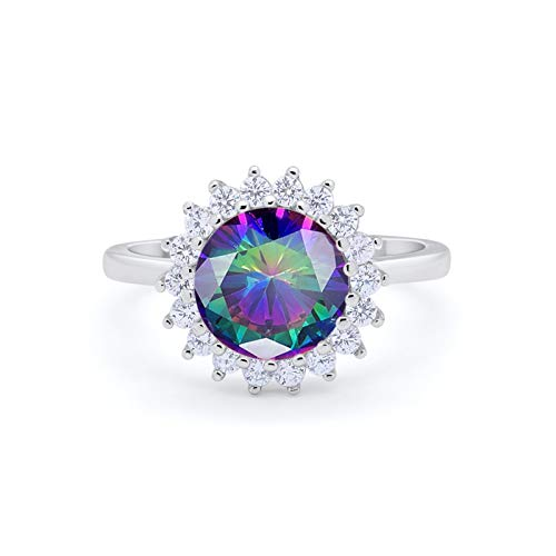 Halo Floral Wedding Ring Simulated Rainbow CZ 925 Sterling Silver