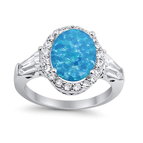 Halo Fashion Ring Baguette Lab Created Blue Opal 925 Sterling Silver