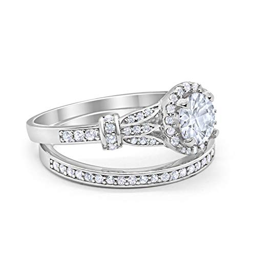 Two Piece Wedding Promise Ring Simulated Cubic Zirconia 925 Sterling Silver