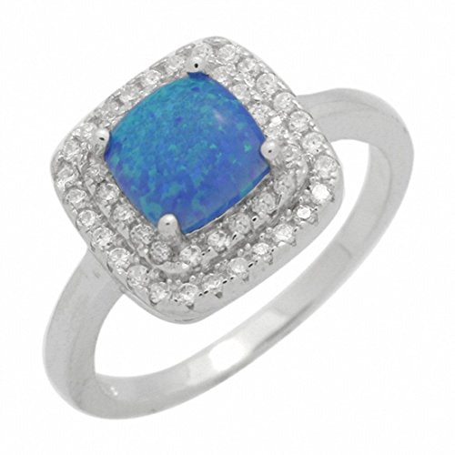 Double Halo Engagement Ring Princess Lab Created Blue Opal 925 Sterling Silver