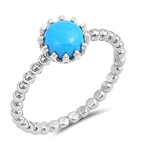 Solitaire Fashion Bead Ball Band Ring Round Natural Turquoise 925 Sterling Silver