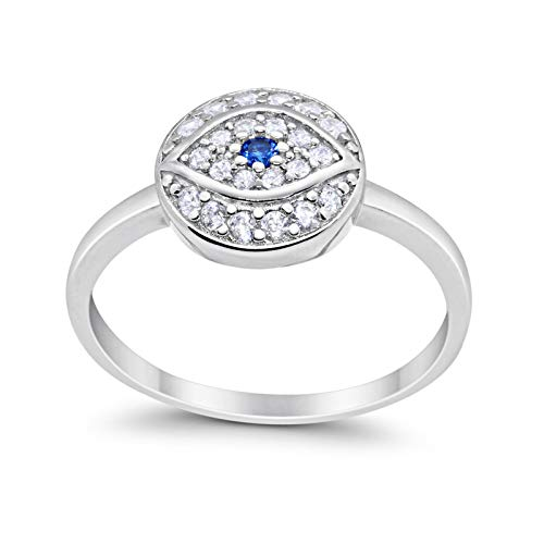 Evil Eye Ring Round Simulated Blue Sapphire Cubic Zirconia 925 Sterling Silver
