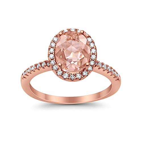 Accent Halo Wedding Ring Oval Rose Tone, Simulated Morganite CZ 925 Sterling Silver