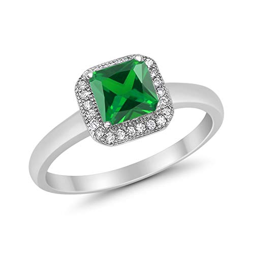 Halo Elegant 925 Sterling Silver Princess Cut  Simulated Green Emerald CZ Ring