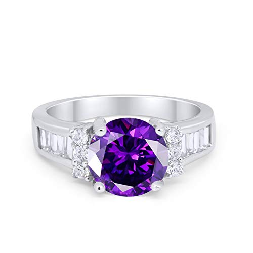 Engagement Baguette Stone Ring Simulated Amethyst CZ 925 Sterling Silver