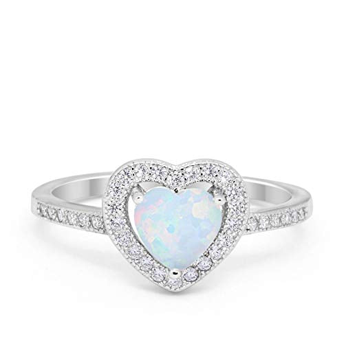 Halo Dazzling Heart Promise Ring Lab Created White Opal 925 Sterling Silver