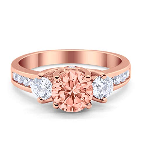 Three Stone Wedding Ring Round Rose Tone, Simulated Morganite Cubic Z irconia 925 Sterling Silver
