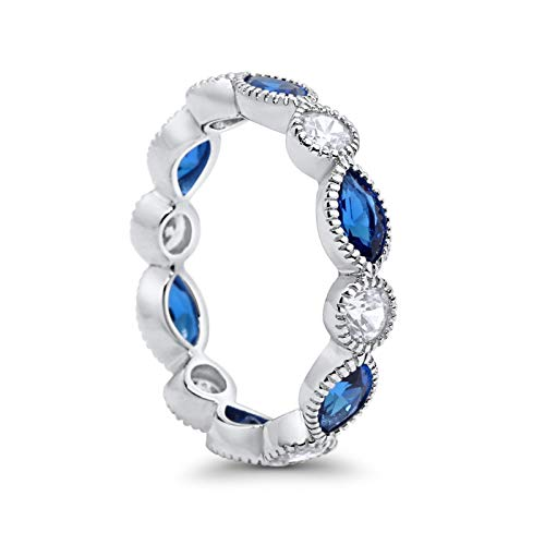 Eternity Style Ring Marquise Simulated Blue Sapphire CZ 925 Sterling Silver