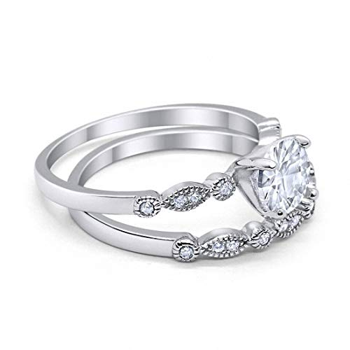 Round Art Deco Engagement Piece Ring Simulated CZ 925 Sterling Silver