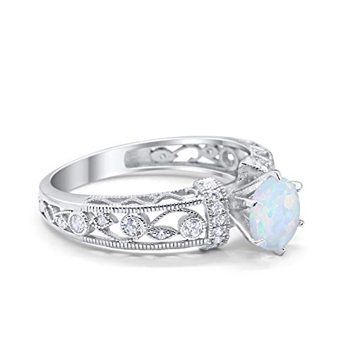 Art Deco Engagement Promise Ring Lab Created White Opal 925 Sterling Silver