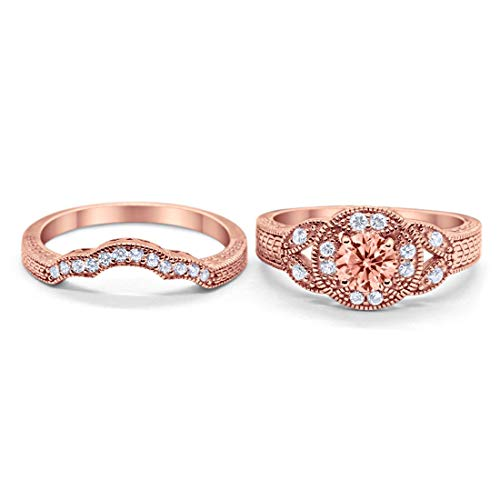 Two Piece Wedding Art Deco Rose Tone, Simulated Morganite CZ 925 Sterling Silver