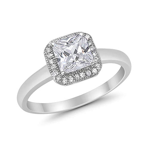 Wedding Ring Princess Cut Simulated CZ 925 Sterling Silver