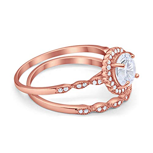 Two Piece Halo Engagement Ring Rose Tone, Simulated CZ 925 Sterling Silver