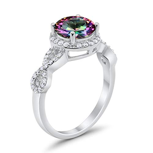 Halo Infinity Wedding Ring Round Simulated Rainbow CZ Solid 925 Sterling Silver