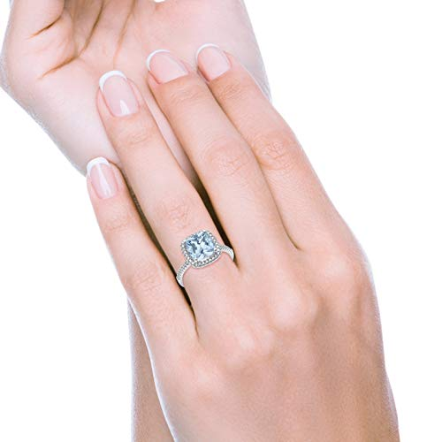 Halo Cushion Round Engagement Ring Simulated Aquamarine CZ  925 Sterling Silver