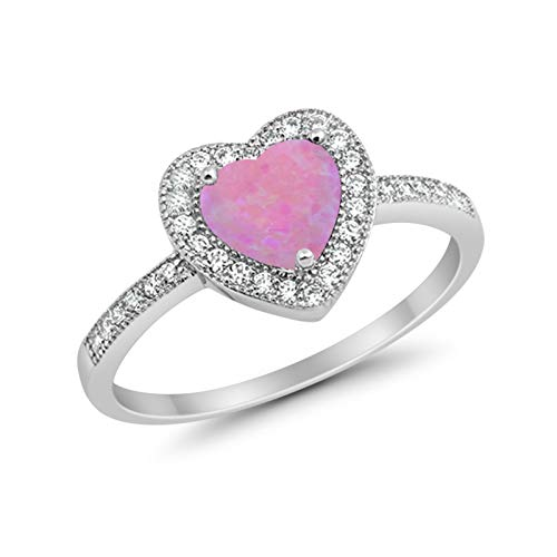 Halo Dazzling Heart Promise Ring Lab Created Pink Opal 925 Sterling Silver
