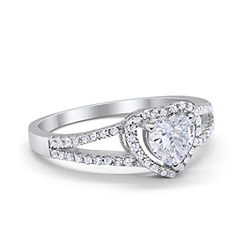 Heart Promise Ring Round Simulated Cubic Zirconia 925 Sterling Silver