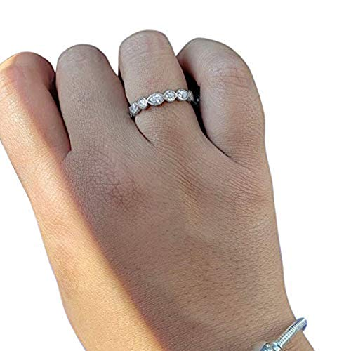 Eternity Style Ring Marquise Simulated Cubic Zirconia 925 Sterling Silver
