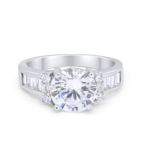 Engagement Round Baguette Stone Ring Simulated CZ 925 Sterling Silver