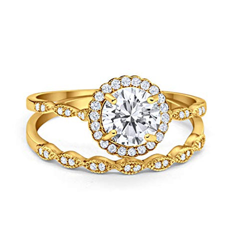 Two Piece Halo Engagement Ring Yellow Tone, Simulated CZ 925 Sterling Silver