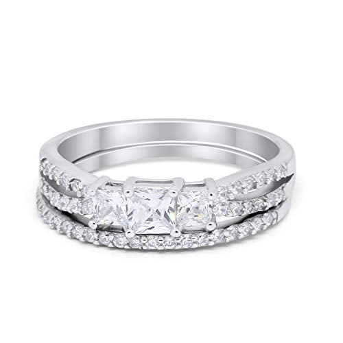 Stone Princess Cut Simulated CZ Wedding Ring 925 Sterling Silver