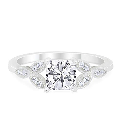Art Deco Design Engagement Ring Princess Cut Simulated CZ 925 Sterlig Silver