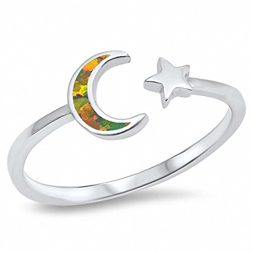 Moon Star Ring Lab Created Black Opal 925 Sterling Silver