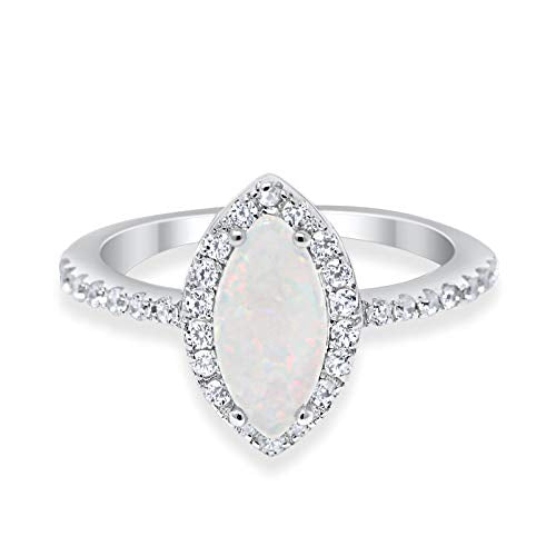 Fashion Engagement Ring Marquise Created White Opal 925 Sterling Silver