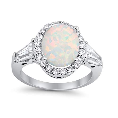 Halo Fashion Ring Baguette Lab Created White Opal 925 Sterling Silver