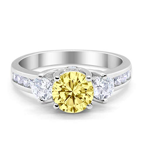 Three Stone Wedding Ring Round Simulated Yellow Cubic Zirconia 925 Sterling Silver