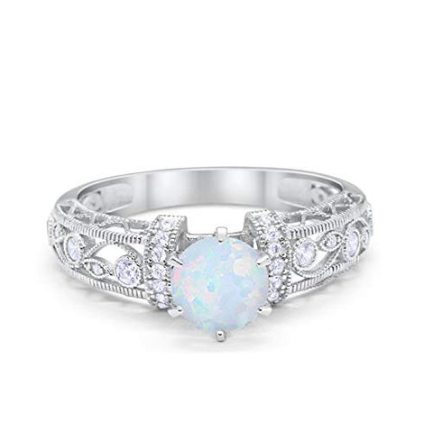 Art Deco Engagement Promise Ring Lab White Opal 925 Sterling Silver
