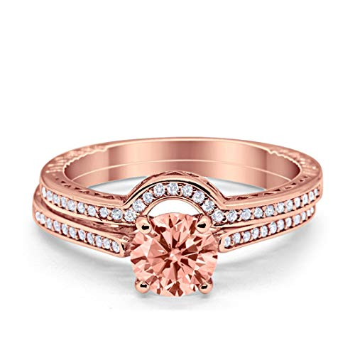 Filigree Wedding Bridal Set Piece Rose Tone, Simulated Morganite CZ 925 Sterling Silver