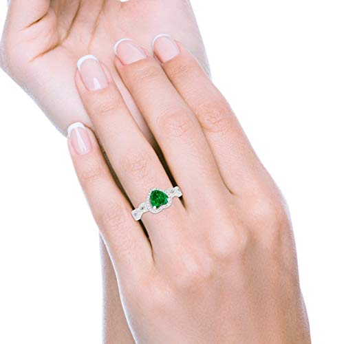 Halo Wedding Heart Promise Ring Simulated Green Emerald CZ 925 Sterling Silver