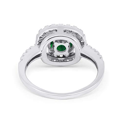 Solitaire Accent Halo Wedding Ring Round Simulated Green Emerald CZ 925 Sterling Silver
