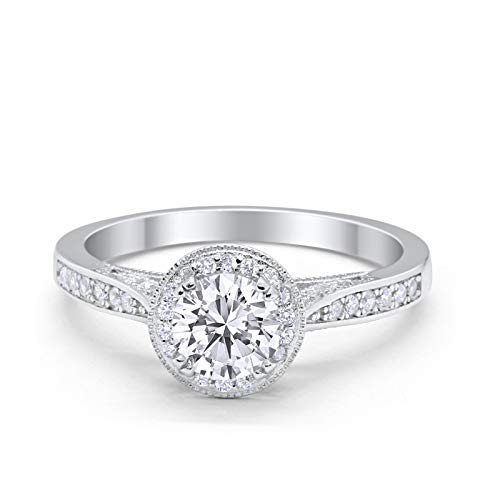 Halo Engagement Promise Ring Round Simulated Cubic Zirconia 925 Sterling Silver