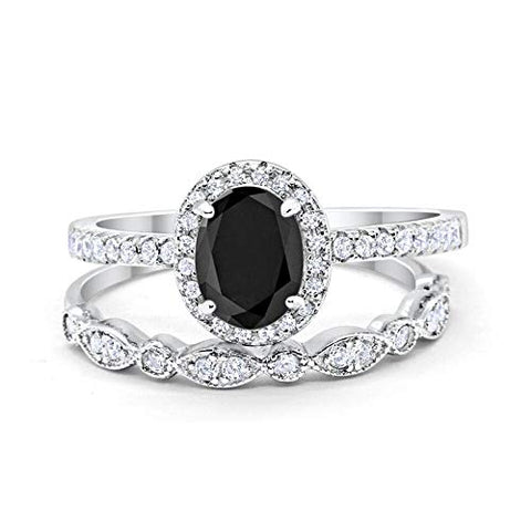 2-Piece Art Deco Wedding Bridal Ring Oval Simulated Black Cubic Zirconia 925 Sterling Silver