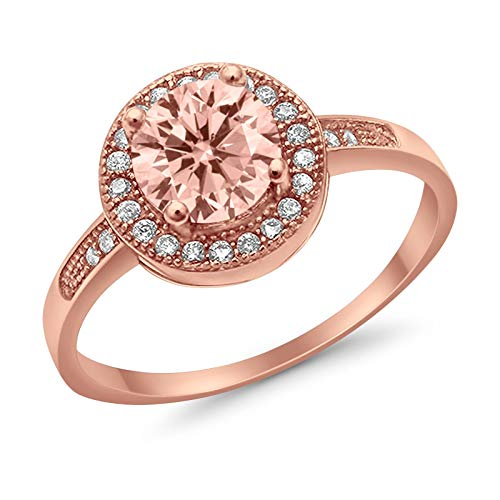 Halo Round Promise Ring Rose Tone, Simulated Morganite CZ 925 Sterling Silver